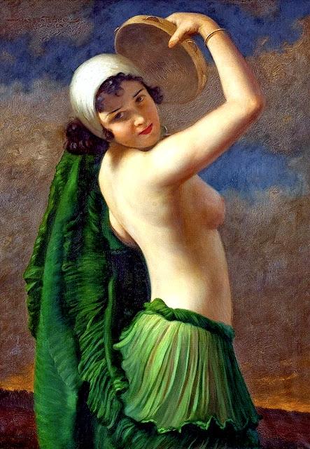 Hans Hassenteufel: Modella seminuda con tamburello