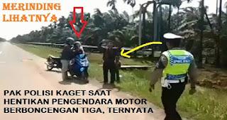 Polantas Kaget saat Hentikan Pengendara Motor yang Berboncengan Tiga, Innalillahi...