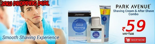 Jaw Dropping Deal: Park Avenue Shaving Cream (70 Gram+40% Free) and After Shave combo  (50Ml) for Rs.93 Only