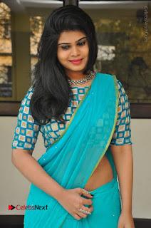 Telugu Actress Alekhya Stills in Green Saree at Swachh Hyderabad Cricket Press Meet  0004.JPG