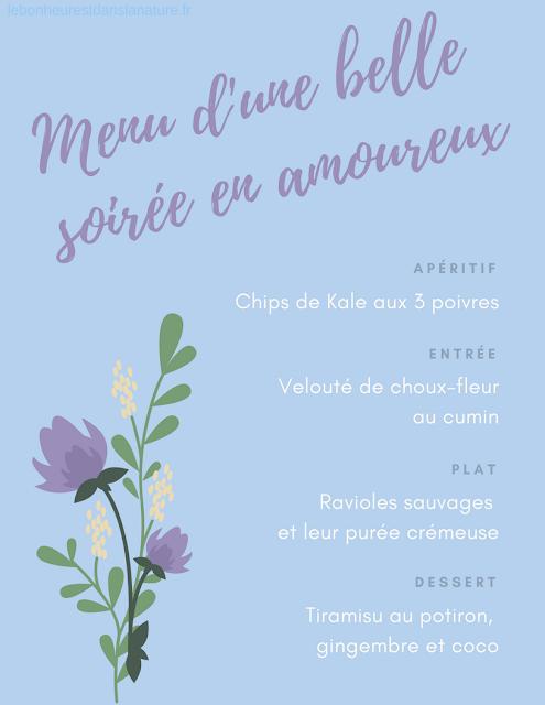 menu vegan végétalien végétal Saint Valentin soirée repas en amoureux