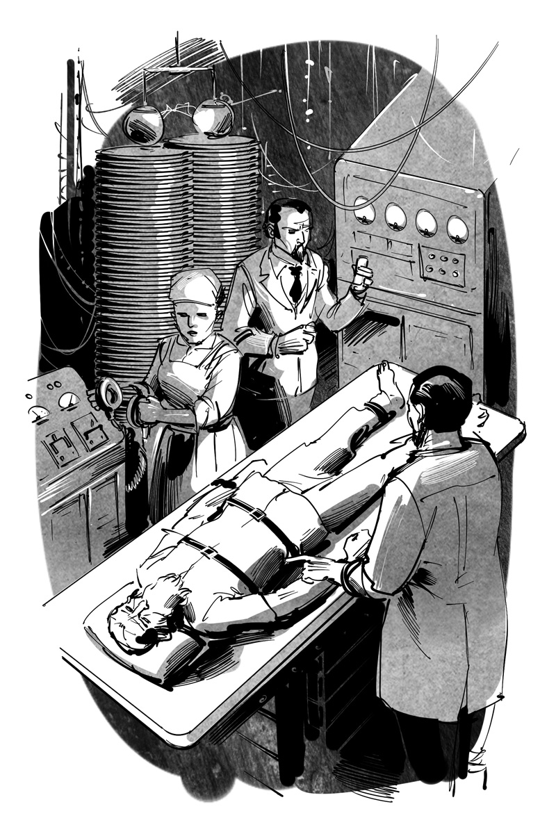 horror novel frankenstein experiment illustration artwork