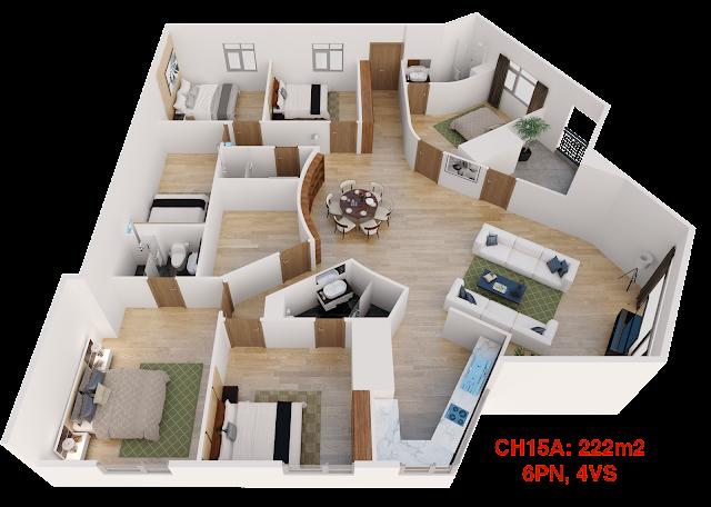 Thiết kế căn hộ 15A tháp doanh nhân