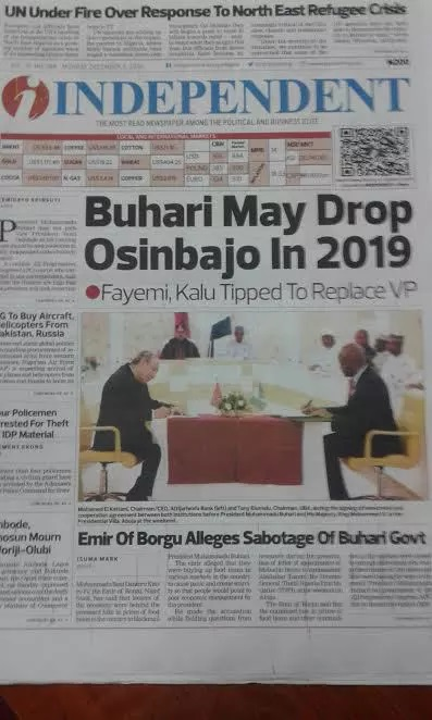 2019: Buhari Shops For New VP; Pencils Fayemi, Kalu As Osinbajo's Replace,Replacement