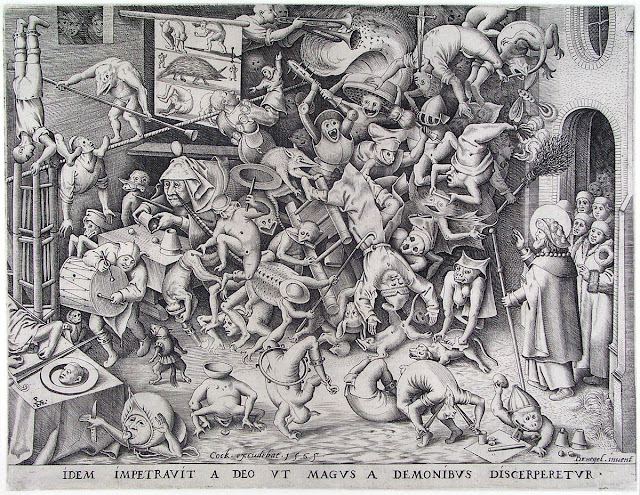 The Same God So That He Obtained Of The Magus Was By Demons Be Pulled In Pieces: Engraving by Pieter Bruegel the Elder.
