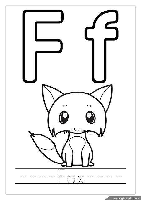 Alphabet coloring page, missive of the alphabet f coloring, f is for fox