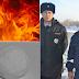 Policiais russos apagam incêndio com bolas de neve