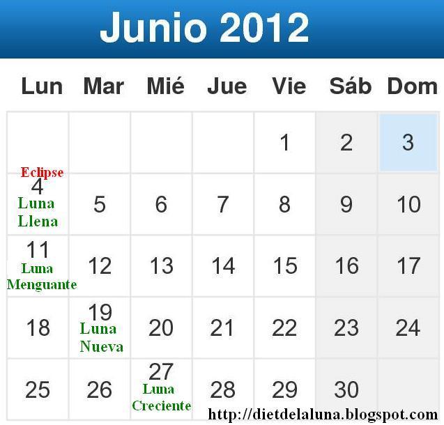 Dieta De La Luna 2018 Junio Calendario Lunar 2012