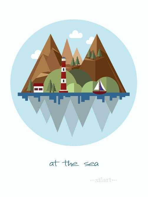 Landscape, at the sea, vektorillustration, vektorgrafik