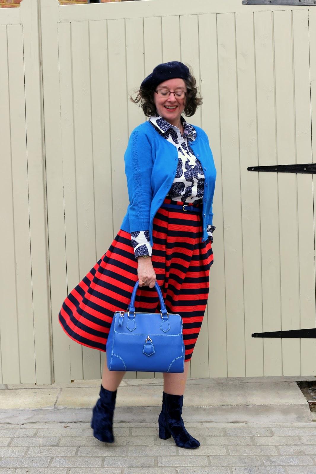 Patterning Mixing a Midi Skirt | Boden Maggie Ottoman Skirt, Boden Shirt, Velvet Boots | Petite Silver Vixen