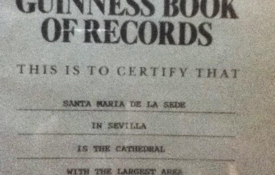 Certificado de Catedral de Sevilla: la más grande del mundo
