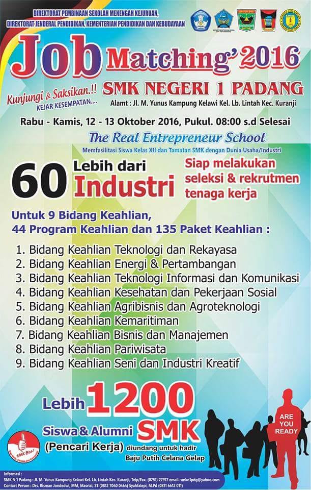Job Fair di Kota Padang – Seleksi & Rekrutmen Tingkat SMK (12 s/d 13 Oktober 2016)