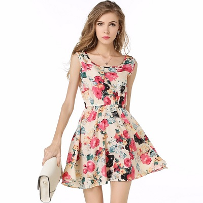 mini dress motif bunga terbaru 2017