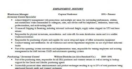inventory control specialist sample resume format in word