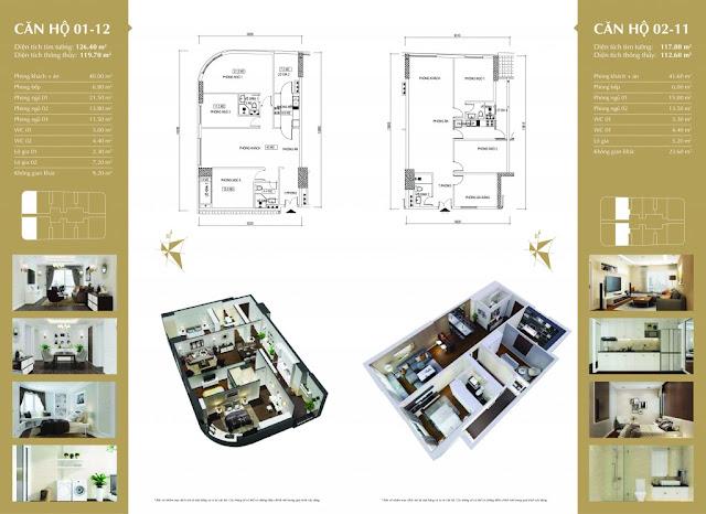 Thiết kế căn hộ 01-12 và 02-11 Imperial Plaza