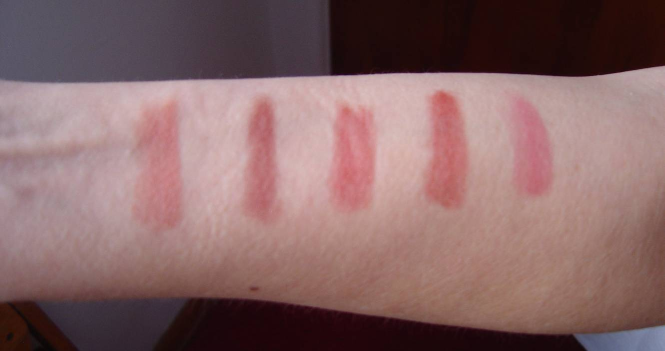 five swatches of NYC New York Color Cosmetics Ultra Last Lipwear.jpeg