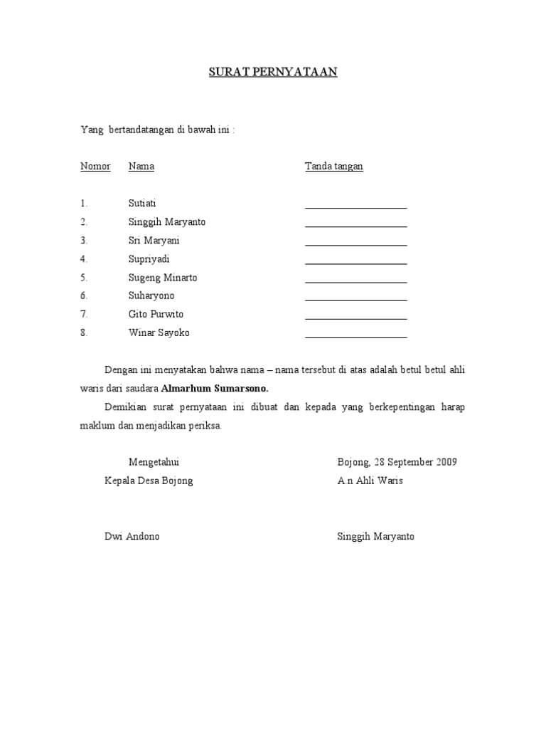Contoh Surat Kuasa Wali Nikah Doc