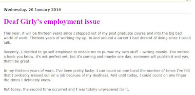 A screen capture of Deaf Girly's blog about employment