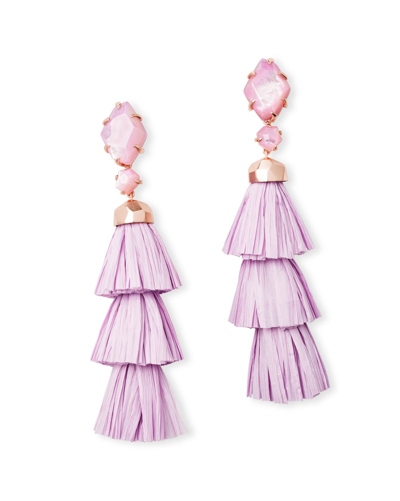 Denise Rose Gold Statement Earrings In Lilac Mother Of Pearl