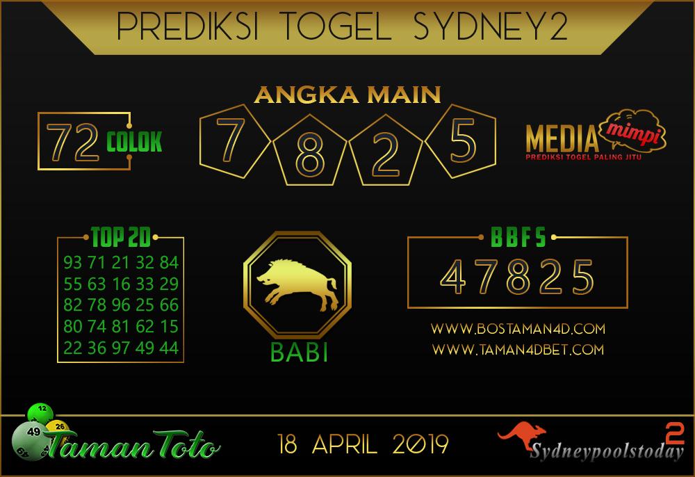 Prediksi Togel SYDNEY 2 TAMAN TOTO 18 APRIL 2019