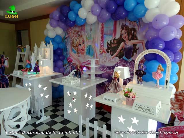 Decoração de mesa infantil tema Barbie Pop Star