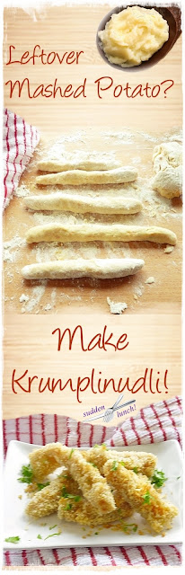 making krumplinudli from leftover mashed potato