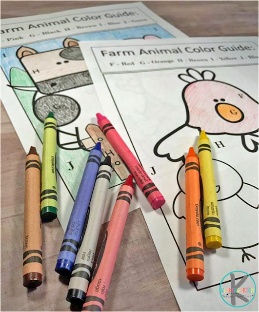 farm color by letter worksheets for kids