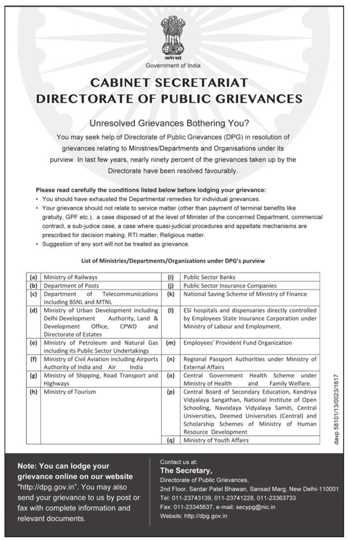 directorate of public grievances cabinet secretariat