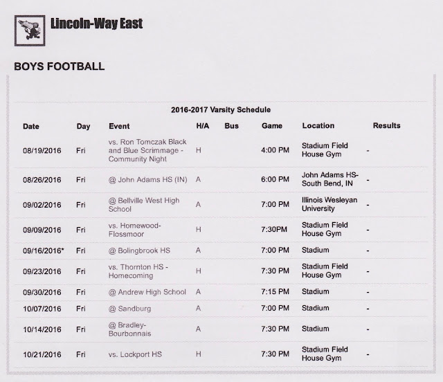 Printable LWHS East 2016 Football Schedule