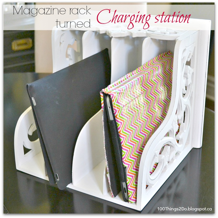 iPad charging station, charging station, iPad charger, repurposed magazine rack, easy iPad station, iPad dock