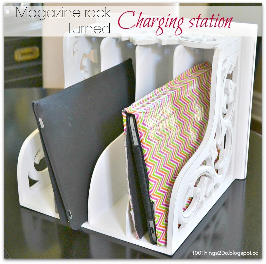 iPad charging station, charging station, iPad charger, repurposed magazine rack, easy iPad station, iPad dock