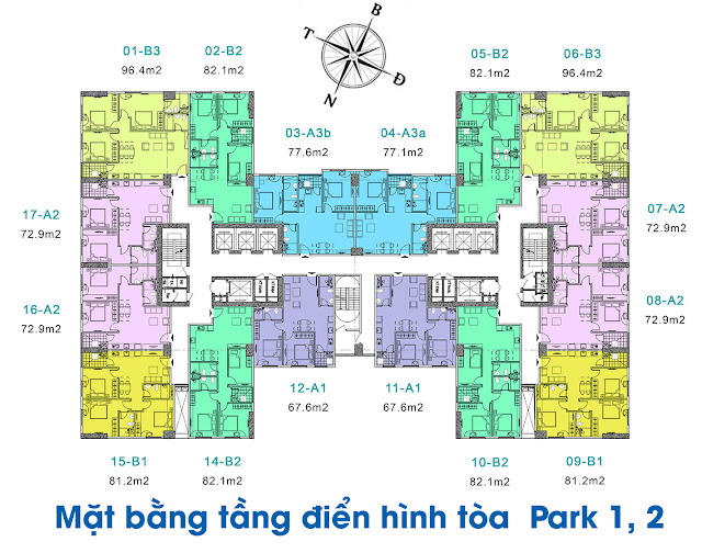 Mặt bằng căn hộ điển hình của dự án EuroWindow Đông Trù