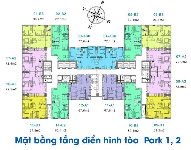 Mặt bằng tòa Park1 - Park2 chung cư EuroWindow River Park