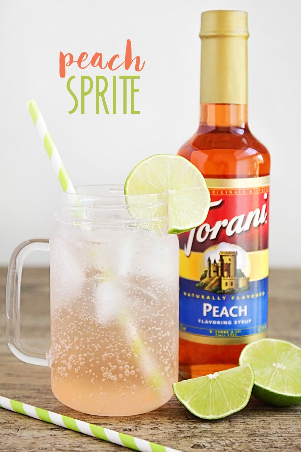 This delicious and simple peach Sprite is the perfect cold drink for a hot day!