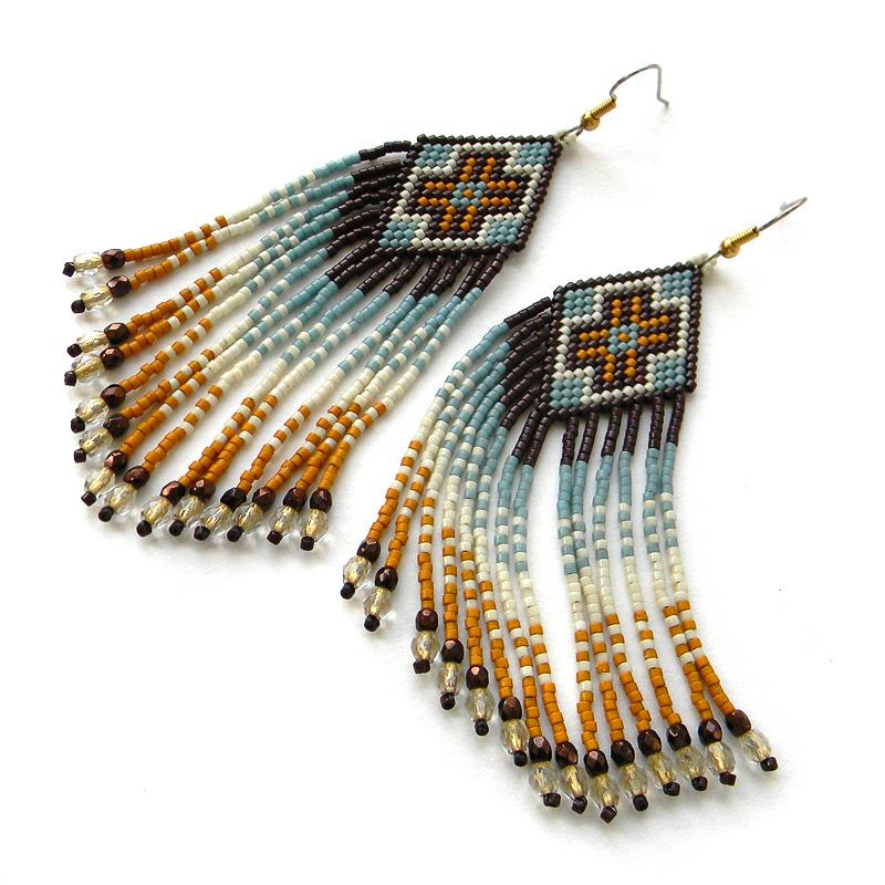 купить интересные сережки в этническом стиле необычные украшения из бисера анабель