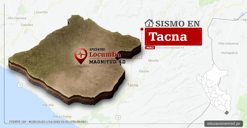 Temblor en Tacna de Magnitud 4.0 (Hoy Miércoles 1 Abril 2020) Sismo - Epicentro - Locumba - Jorge Basadre - IGP - www.igp.gob.pe