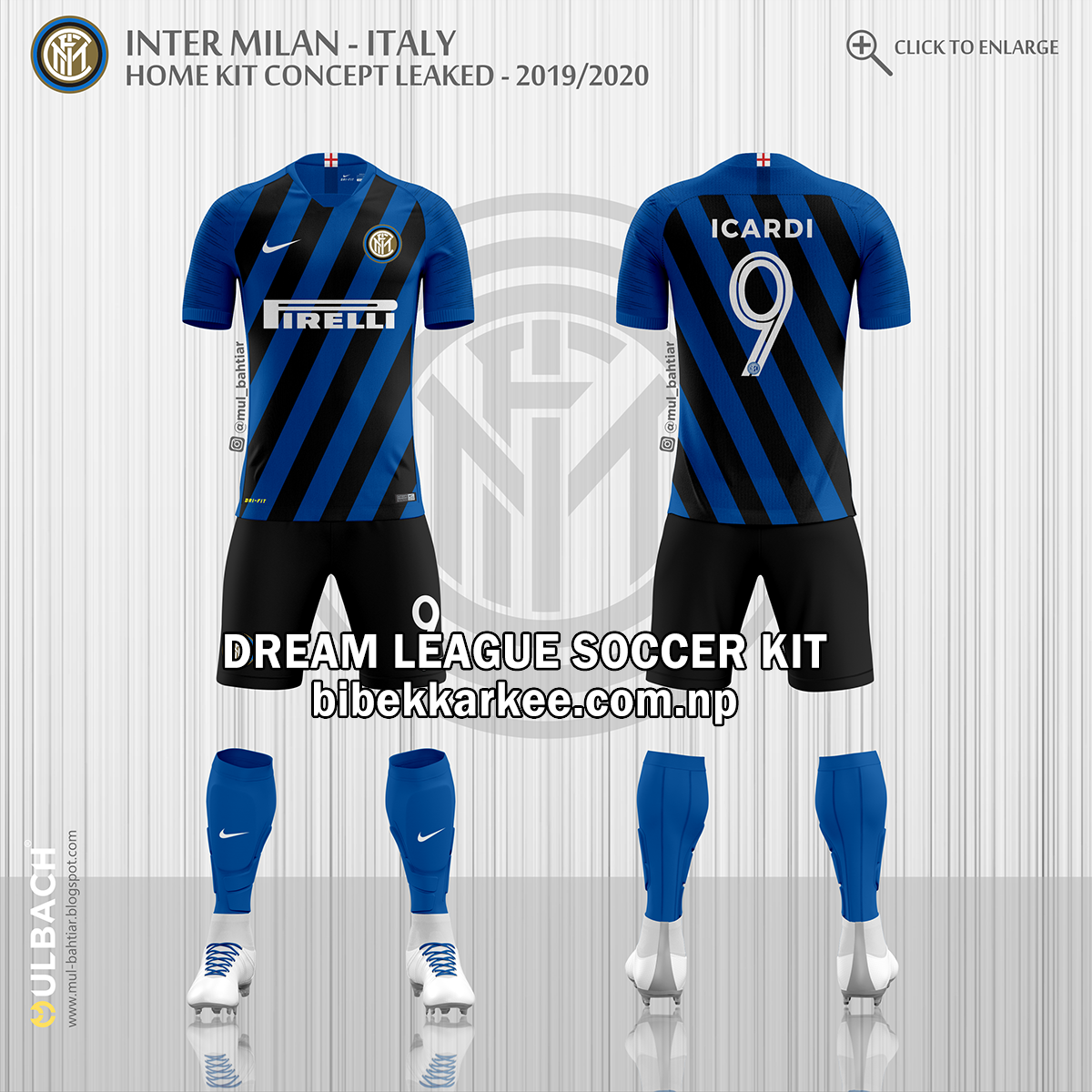 Inter Milan Dream League Soccer Kit and Logo for 2019/2020- Serie A