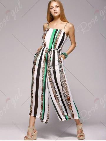 Fashioable Spaghetti Strap Vertical Printing Jumpsuit For Women - White And Green
