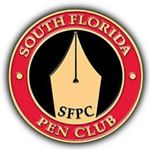 Red and black pin with a fountain pen nib as the logo for the sfpc.