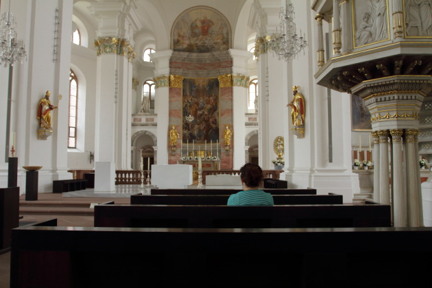 Inside the gorgeous Jesuit Church of Heidelberg, Germany