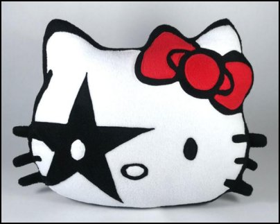 Hello Kitty Pillow Rock n Roll Star   Hello Kitty bedroom ideas - Hello Kitty bedroom decor - Hello Kitty bedroom decorating - Hello Kitty bedroom furniture - Hello Kitty Wallpaper Mural - Hello Kitty Throw Pillows  - Hello Kitty bedding - Hello Kitty Rugs