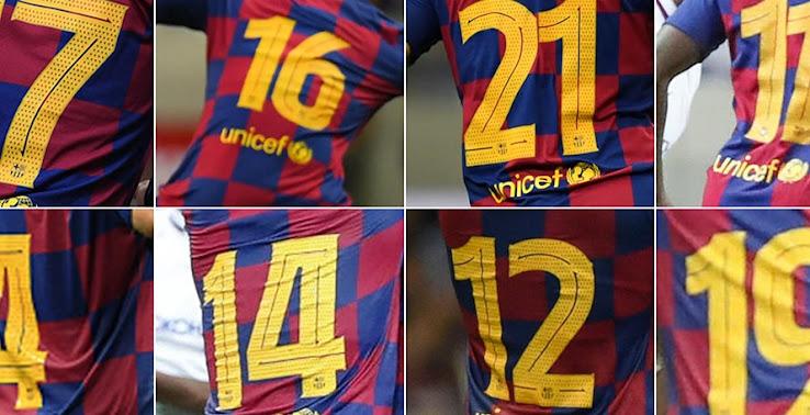 Ron Patch 2019 2020 FC Barcelona Messi Soccer Away La Liga Football Player Jersey Shirt Name//Number Set
