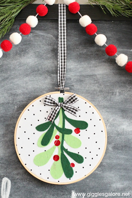 Mistletoe Embroidery Hoop Art