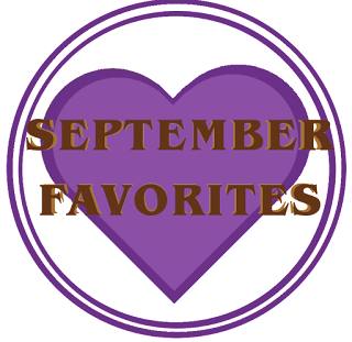 A purple heart with two purple circles around it and the words September Favorites in brown across the foreground.