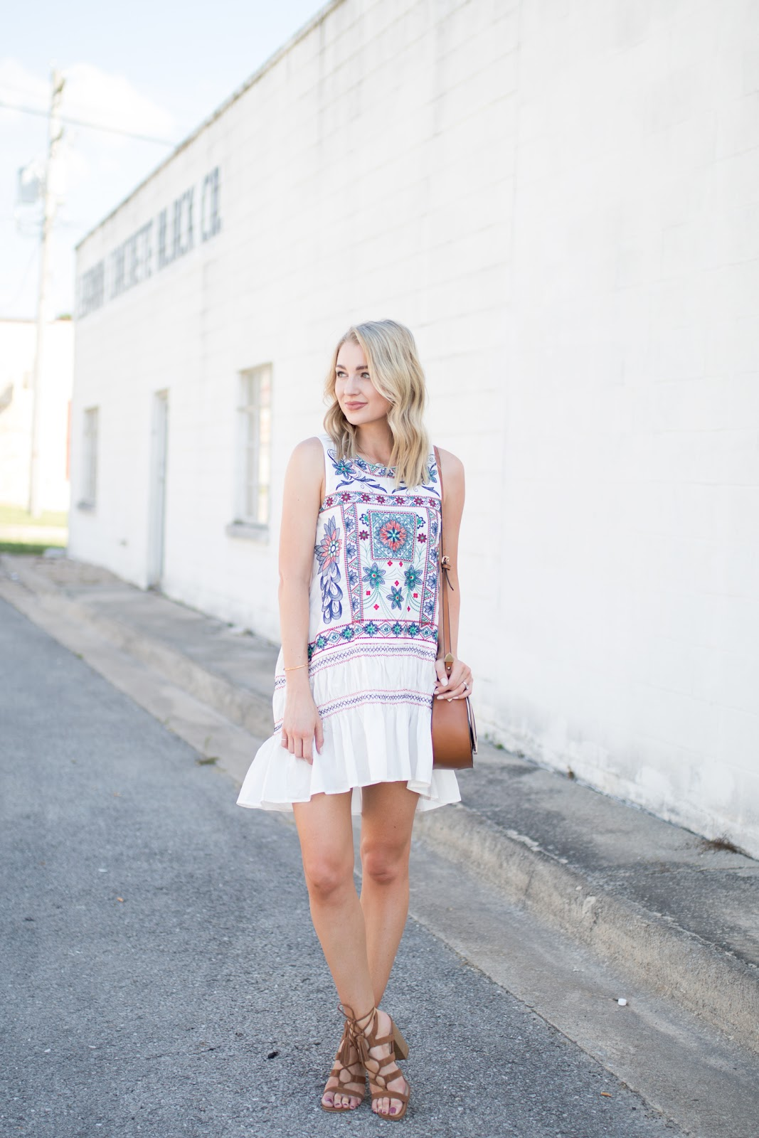 White sundress with embroidery