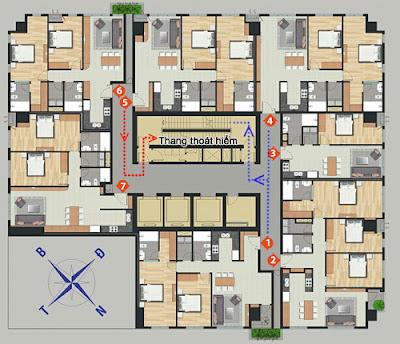 Khu chung cư đảm bảo an toàn khi có 2 thang thoát hiểm cho 7 hộ gia đình trên một tầng