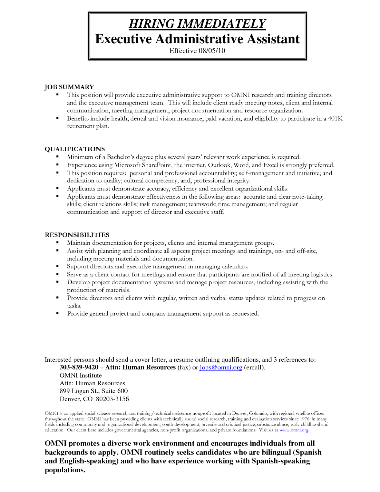 Chronological Resume Sample  Executive Administrative Assistant happytom co