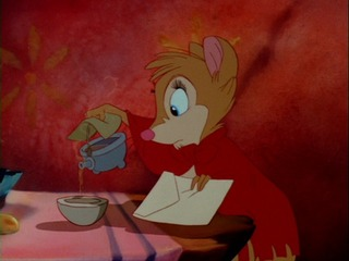 Mrs. Brisby pouring tea Secret of NIMH 1982 animatedfilmreviews.filminspector.com