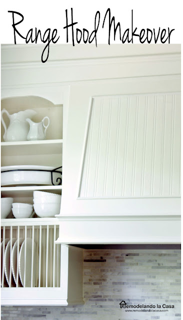 beadboard wallpaper on range hood, white kitchen, white china, open cabinets