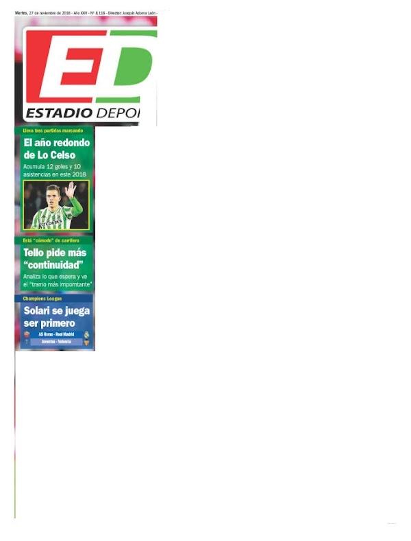 """Betis, Estadio Deportivo: """"El año redondo de Lo Celso"""""""
